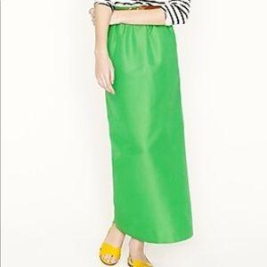 J. Crew shirred green maxi skirt size 0